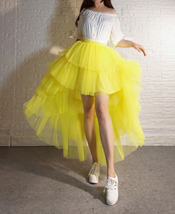 High Low Tulle Skirt Long Layered Tutu Skirt Outfit Plus Size Yellow Hi Low image 7