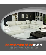 Modern Ivory Italian Leather Sectional Sofa with Built In Light and Shel... - $2,799.00