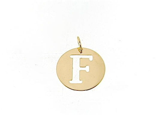18K YELLOW GOLD LUSTER ROUND MEDAL WITH LETTER F MADE IN ITALY DIAMETER 0.5 IN