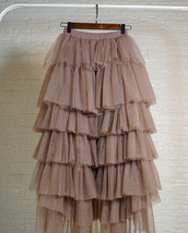 High Low Tulle Skirt Long Layered Tutu Skirt Outfit Plus Size  Brown Tulle Skirt image 4