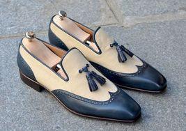 Handmade Men's Beige and Blue Slip Ons Loafer Tassel Shoes image 1