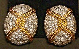 Ciner Vintage Pave Rhinestone Clip On Earrings Large Stunning - $49.49