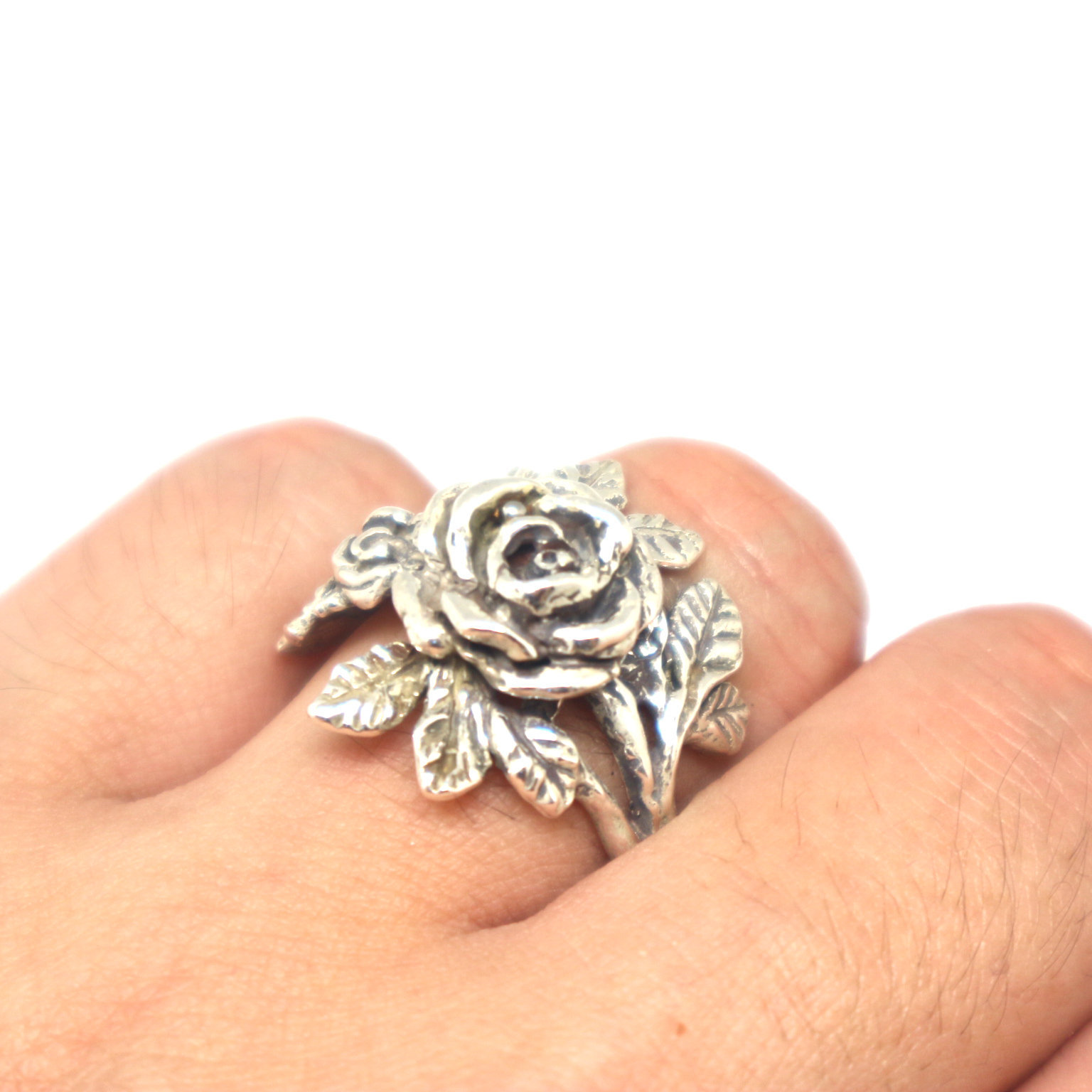 Silver Flower Rose Ring image 1
