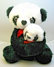 Vintage Plush Panda with Baby Plush C & H Co. Korea Red Ribbons Stuffed ... - $16.99