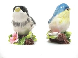 Vintage Gloss Ceramic Blue Bird Sitting on Flowers - Pair - $35.00