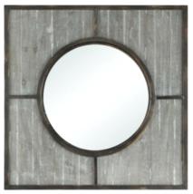 "32"" Square Antique Gray & Bronze Wall Mirror Farmhouse Coastal Industrial - $217.33"