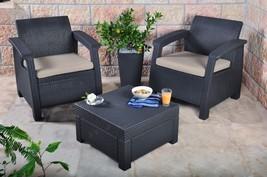 3pcs Rattan Garden Balcony Set Armchairs Coffee Table Patio Furniture Brown image 2