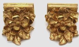 Shiny Gold MAGNOLIA BLOSSOM Bookends Vintage Set ART NOUVEAU Library 6 X 5 - $44.99
