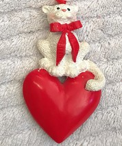 Cat Magnet Ornament Feline Kitten White Kitten With Big Red Heart - $8.78
