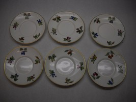 ROYAL WORCESTER Demitasse SAUCERS Set of 6 SMALL FRUIT Pattern GOLD Trim... - $49.49