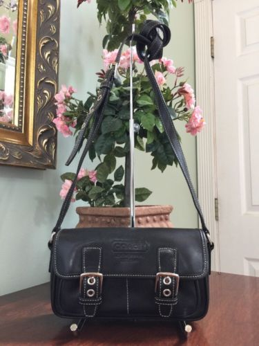 Coach Bag Black Leather Double Buckle Crossbody Bag 9355 B2K