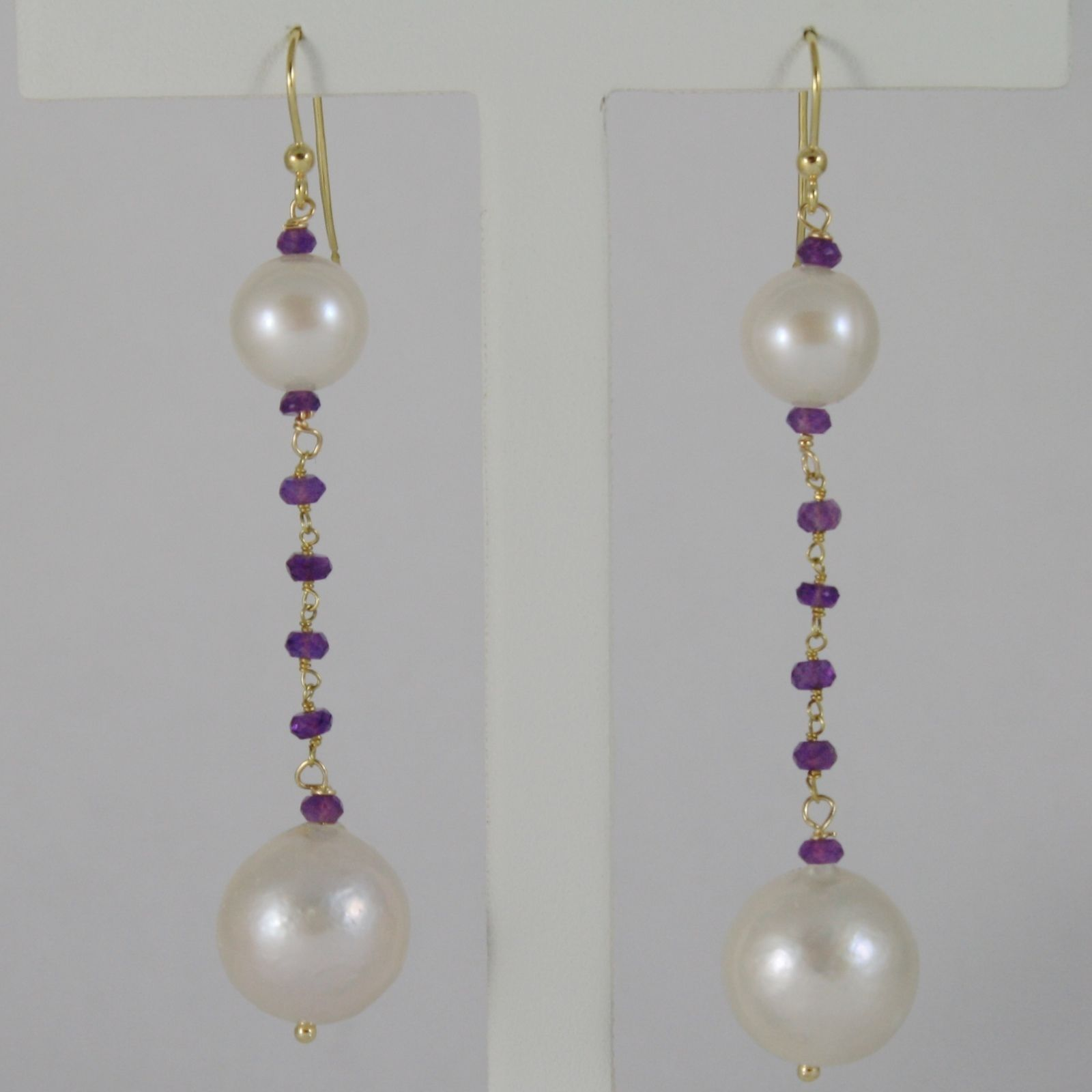 18K YELLOW GOLD PENDANT EARRINGS BIG 13 MM WHITE FW PEARLS AND PURPLE AMETHYST