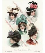 Wall Decor Poster.Interior home.Room art design.Victorian Hats Fashion.1... - $9.90+