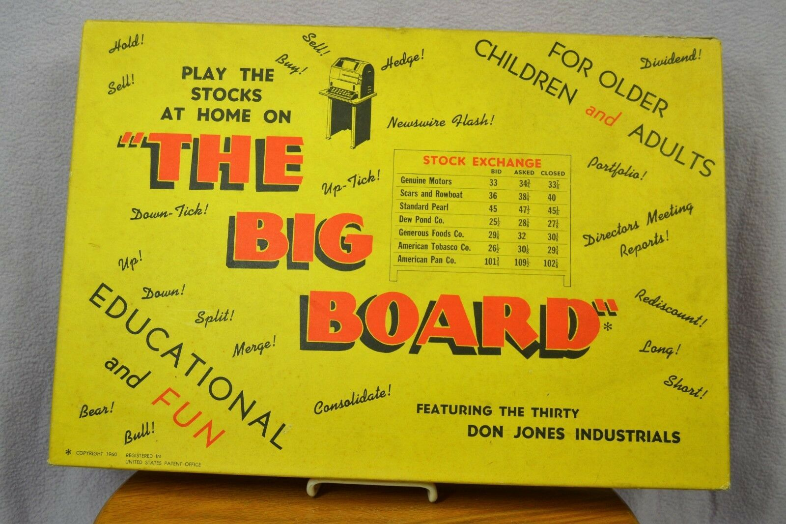 Vintage The Big Board Don Jones Industrials Investors Stock Market Game 1960