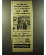 1950 Lee Work Clothes Ad - You can buy Lee work clothes in more retail s... - $14.99