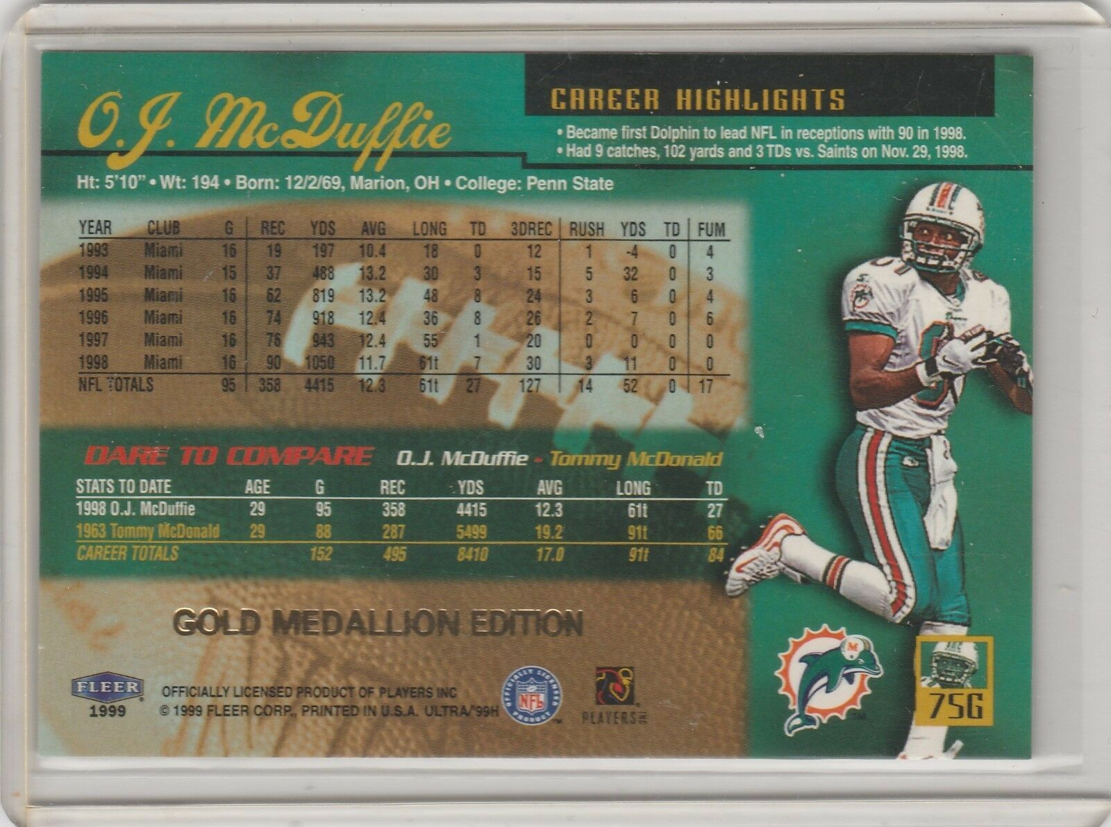 1999 Fleer Ultra Gold Medallion Edition #75G O.J. McDuffie