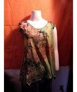 One World Live and Let Live Blouse Green Multi ... - $9.99