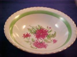"Gold Rim 7 1/4 "" Serving / Vegatable Bowl W/ Pink Carnations & Green Band - $12.86"