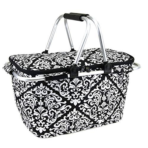 Damask Print Metal Frame Insulated Market Tote