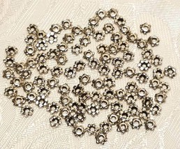 25pcs. Fine Pewter Daisy Spacer Beads 4x4x2mm image 2