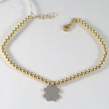 Bracelet en or Jaune Blanc 750 18K avec Sphères et Trèfle, 19 CM - $477.20