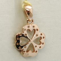 18K ROSE GOLD LUCKY FOUR LEAF PENDANT CHARM CUBIC ZIRCONIA BRIGHT, MADE IN ITALY image 3