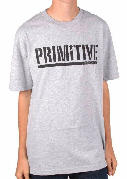 Primitive x Grizzly Griptape Skateboarding Mens Heather Grey Gripped T-Shirt NWT
