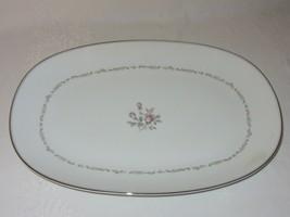 Noritake Mayfair China Large Serving Platter Vtg Pink Rose Platinum Rim ... - $41.57