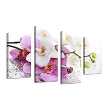 BIL-YOPIN Large Framed Paintings on Canvas 4 Panels White Orchid Flowers... - $58.22