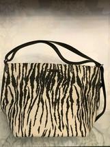 KATE SPADE Black & Tan Zebra Print Canvas w/Leather Trim & Top Handle Hand Bag $ - $82.40