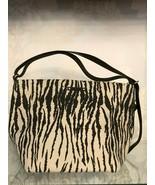 KATE SPADE Black & Tan Zebra Print Canvas w/Leather Trim & Top Handle Ha... - $117.71