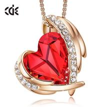 CDE Women Gold Necklace Pendant Embellished With Crystals Red Heart Neck... - $37.99+