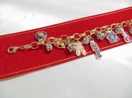 Holiday Lane Gold-Tone Crystal Enameled Nutcracker Charm Bracelet CHR119... - $13.43