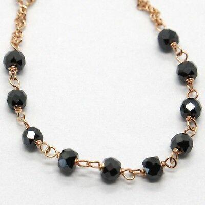 Bracelet Rosary White Rose Gold 18K, Black Spinel, Miraculous Medal