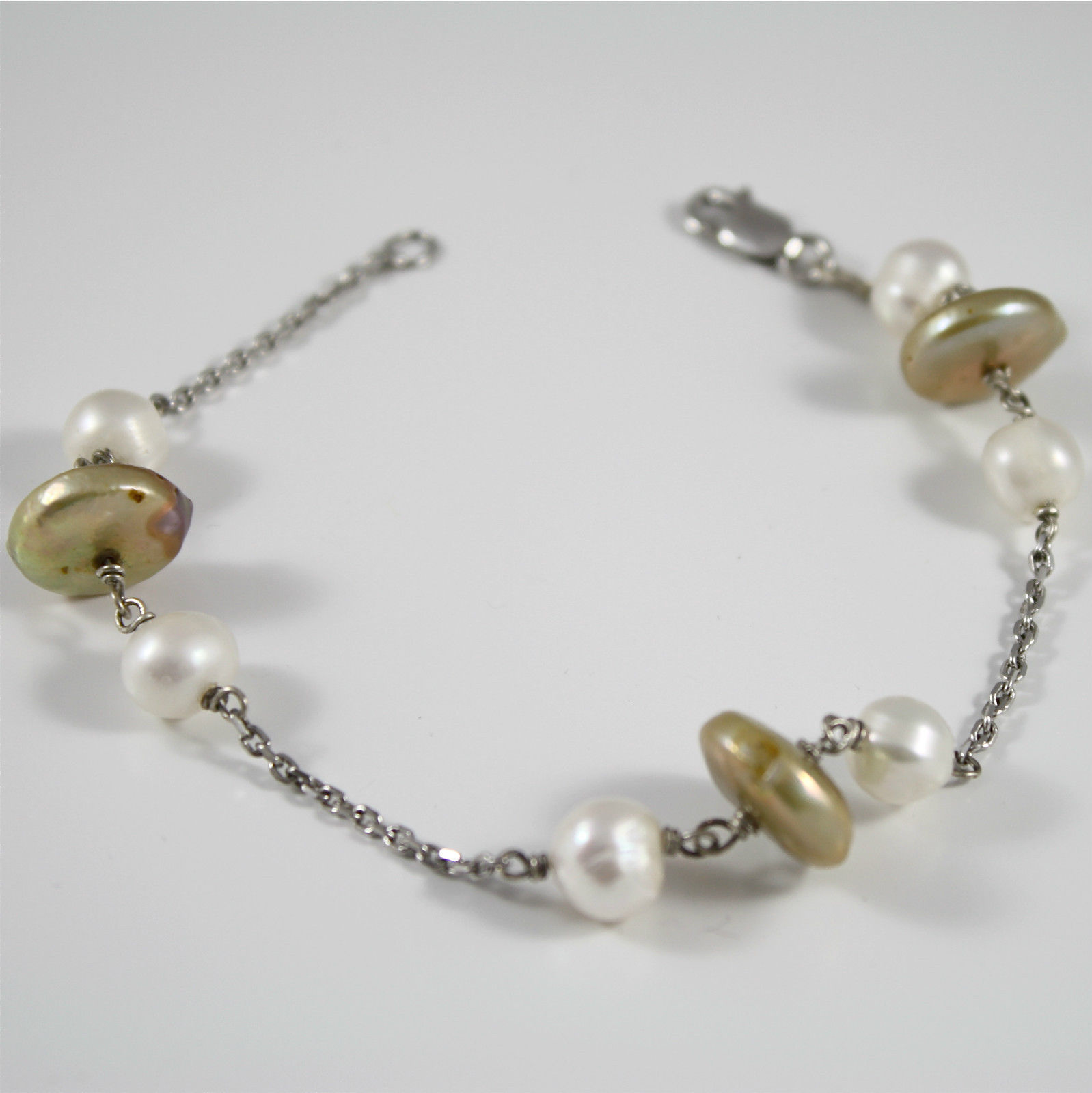 Bracelet in Sterling Silver 925 Rhodium with Pearls and disks Pearl Yellow