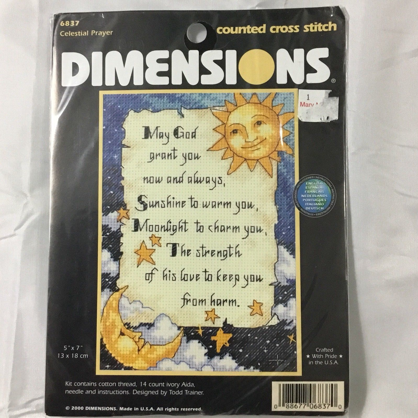 Primary image for Dimensions 6837 Celestial Prayer Cross Stitch Kit 5x7 2000 Todd Trainer USA
