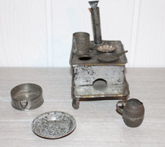 Vintage Very Old Tin Toy Stove with Pots Accessories - $42.75