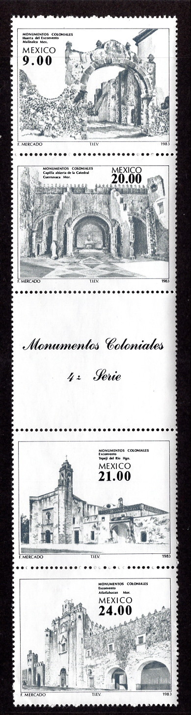 1983 Colonial Monuments Mexico Strip of 4 Postage Stamps Catalog 1341a MNH