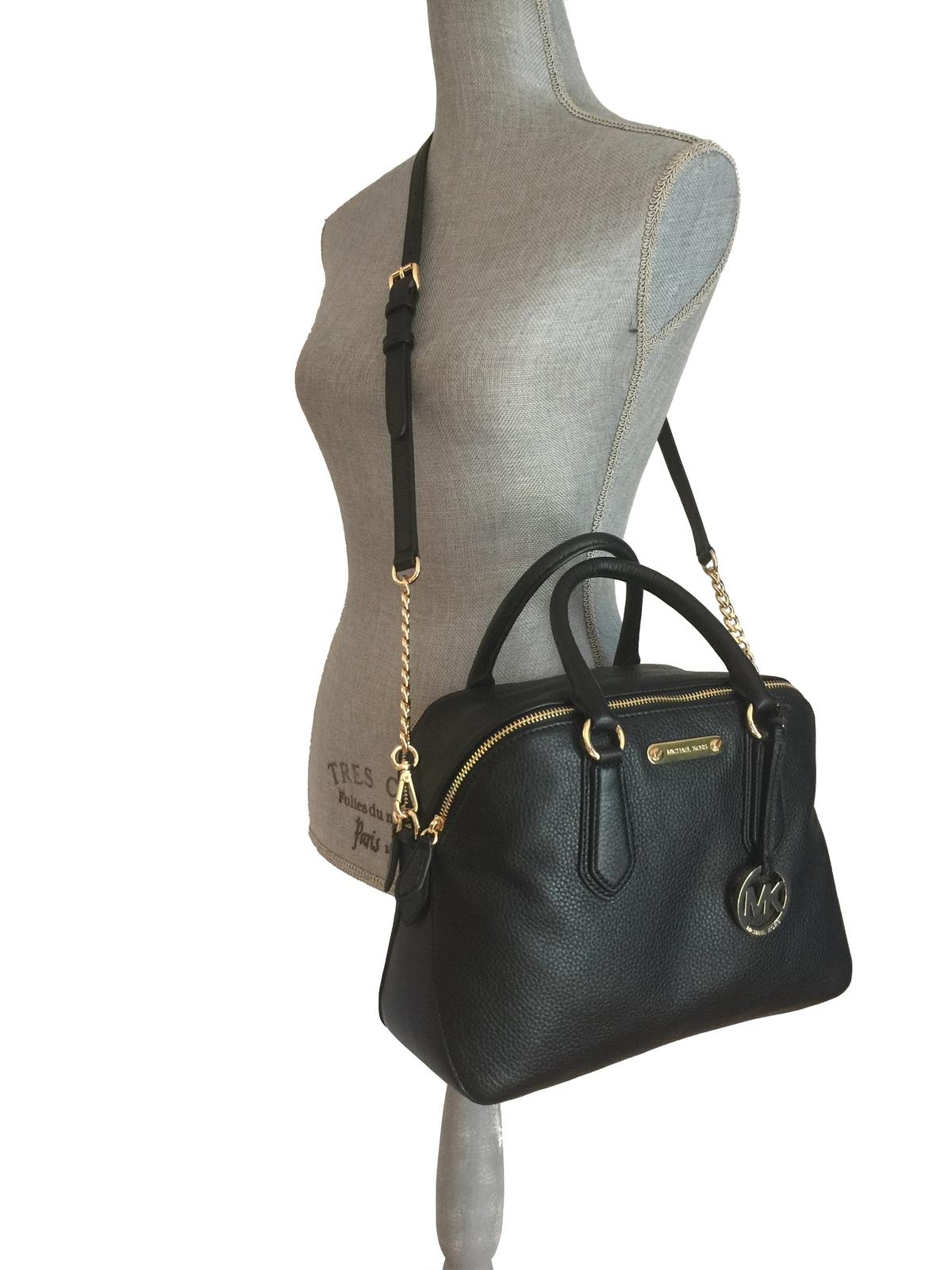 70876fa6fa8f Michael Kors Gillian Large Dual Zip Satchel Black Leather Gold MK Hardware  Bag