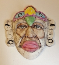 Tribal Bird Face Mask Collectible Porcelain Wall Art Decor Signed JG  - $55.00