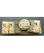 Carved Bovine Bone Bangle Bracelet Bamboo Design Vintage Jewelry - $35.63