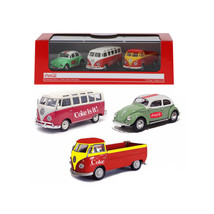 Volkswagen Coca Cola 3 Piece Gift Set 1/72 Diecast Car Models by Motorci... - $38.61