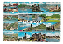 Germany Rhein River 16 Views Souvenir Rhein Multiview Vintage 4X6 Postcard  - $4.99