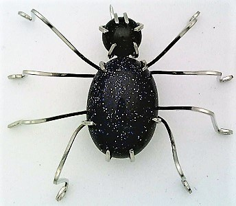 Primary image for Blue Gold Stone Spider Stainless Steel Wire Wrap Brooch 2
