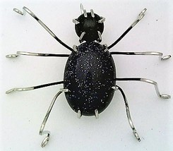 Blue Gold Stone Spider Stainless Steel Wire Wrap Brooch 2 - $28.97