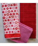 Valentines Day Kitchen Towels set of 4, Hearts Red Pink Hand Towel Dishc... - $11.99