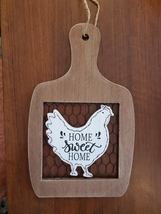Rooster Wall Art, hanging wood sign, Home Sweet Home, wooden with chicken wire image 3