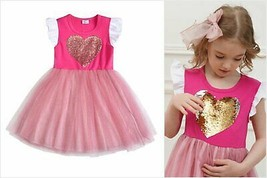 NEW Flip Sequin Heart Girls Pink Valentines Tutu Dress 3-4 4-5 5-6 6-7 7-8 - $12.99