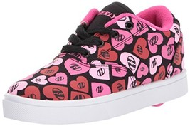 Heelys Girls' Launch Sneaker, Black/Multi Pink/Hearts, 5 Medium US Big Kid - $47.37