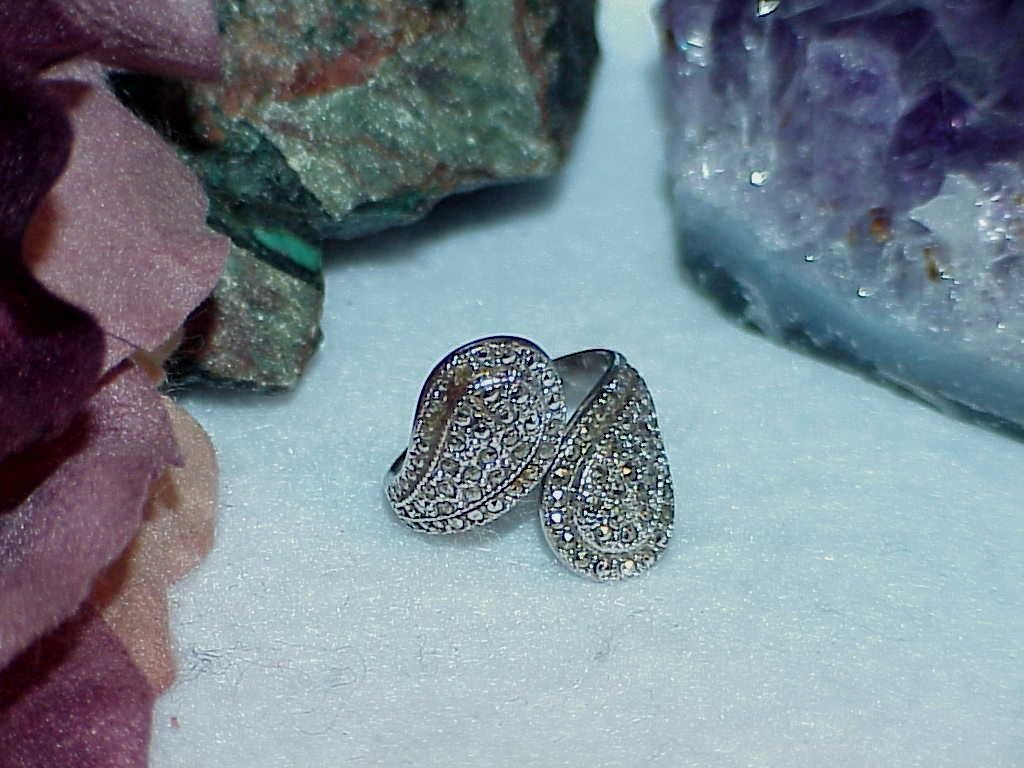 Sterling Silver Marcasite Wrap Bypass Ring Size 7 Antique 4.3 Gr Adjusts Vintage